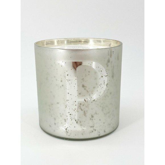Pottery Barn Alphabet P Mercury Glass Candle Glass